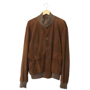 Men's Suede Leather Cashmere Bomber Jacket Brown